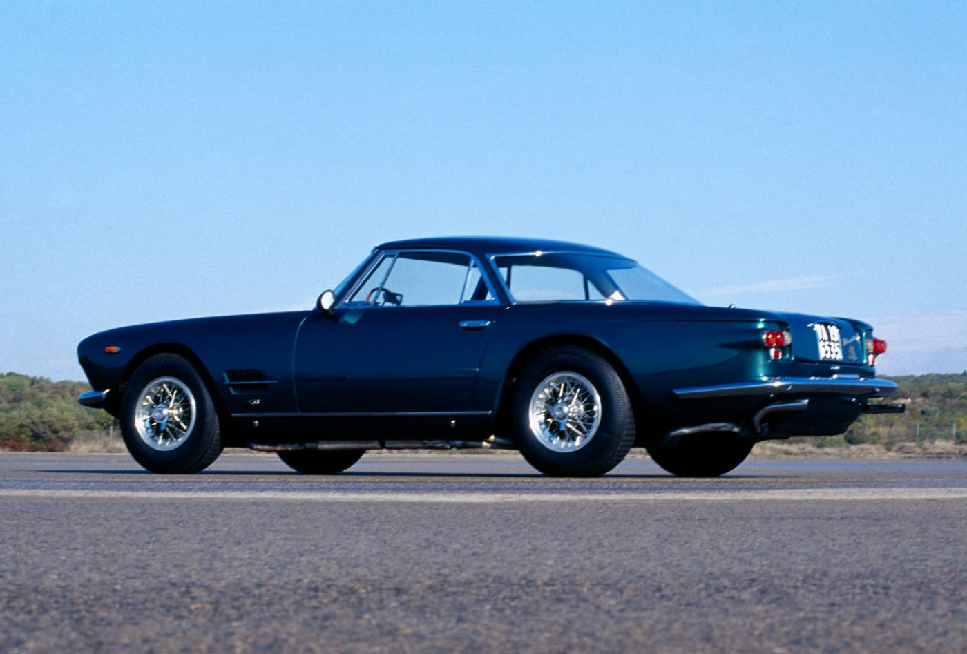 1957 Maserati 5000 GT - exterior view of the classic car model in blue
