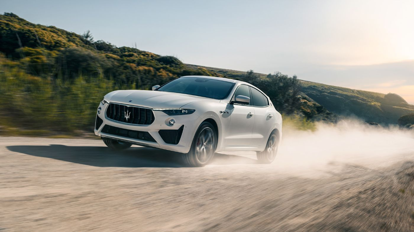 White Maserati Levante on a country road