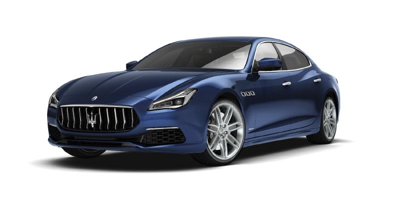Blue Maserati Quattroporte - Side view